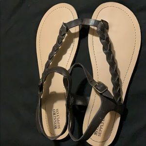 Brown braid sandals